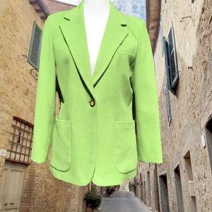 Wool Blend Single Button Up Blazer Career Pockets